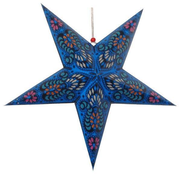 "Star Lantern Template Paper Star Lantern 24"" Blue Color W Pattern"