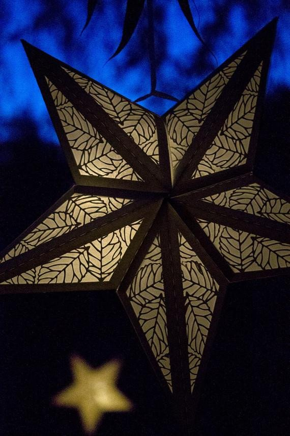 Star Lantern Template Paper Star Lantern W Leaves Cutouts Svg Cutting File Special