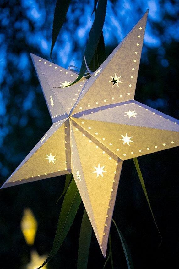 Star Lantern Template Paper Star Lantern W Stars and Dots Svg Cutting File Pdf
