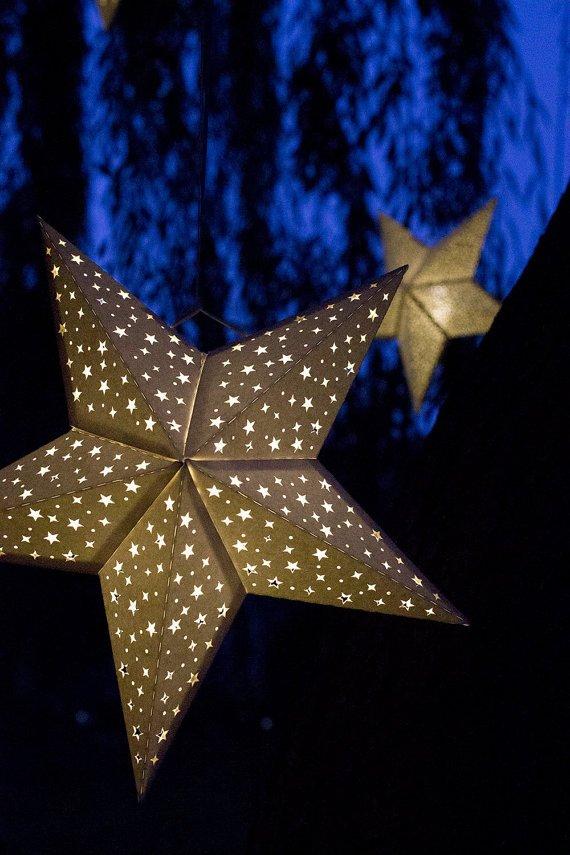 Star Lantern Template Paper Star Lantern W Tiny Stars Svg Cutting File Pdf Special