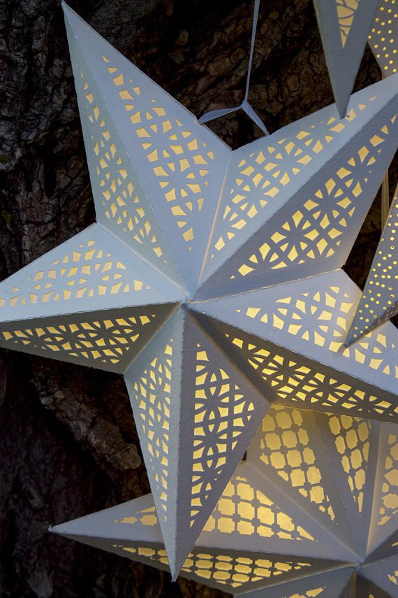 Star Lantern Template Paper Star Lantern with Lace Cutouts Svg Cutting File