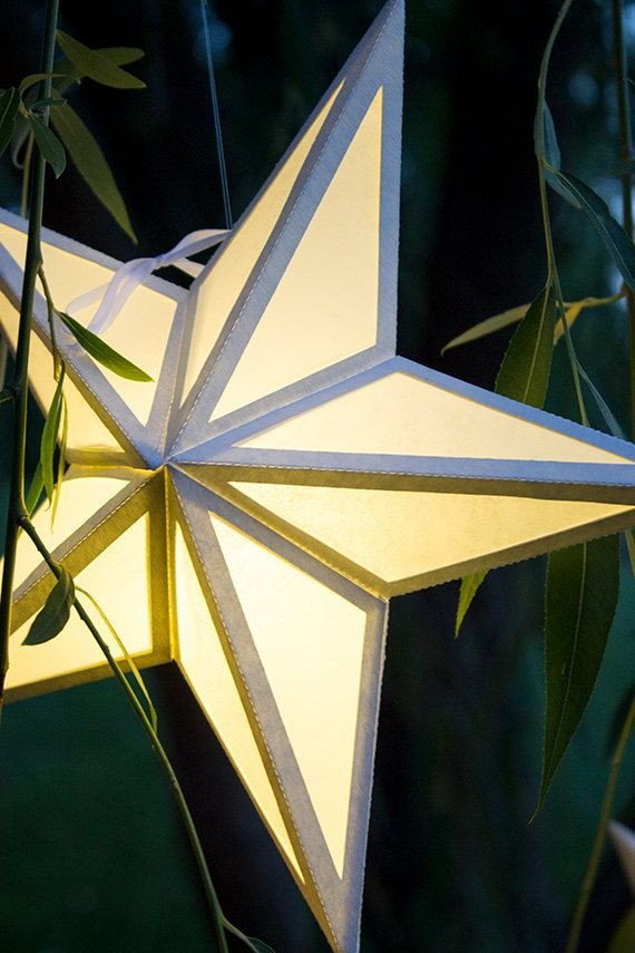 Star Lantern Template Paper Star Lantern with Window Cutouts Svg Cutting File