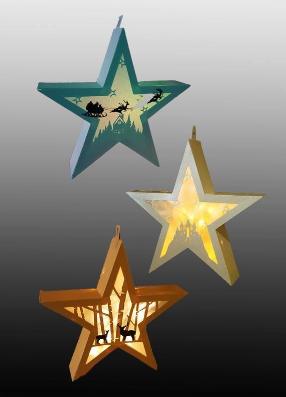 Star Lantern Template Set Of 3 Hanging Star Lantern Templates From Mysvghut On