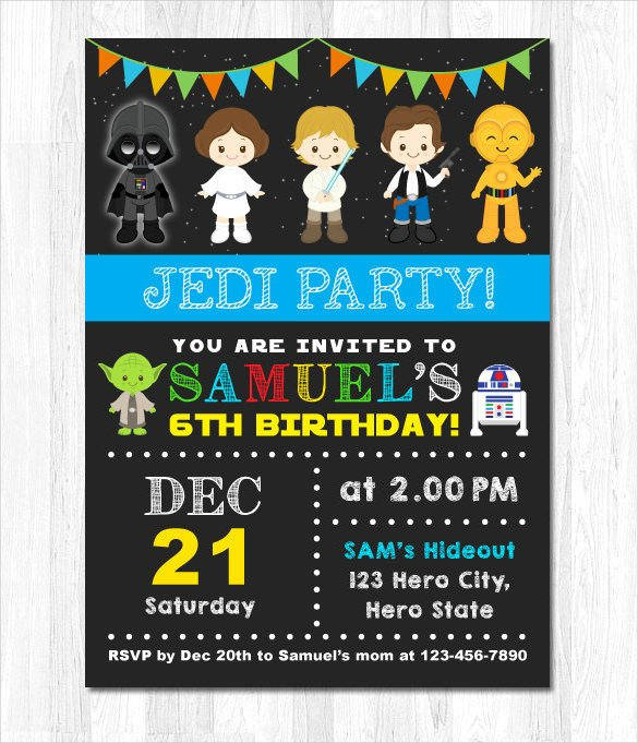 Star Wars Birthday Invitation 20 Star Wars Birthday Invitation Template Word Psd