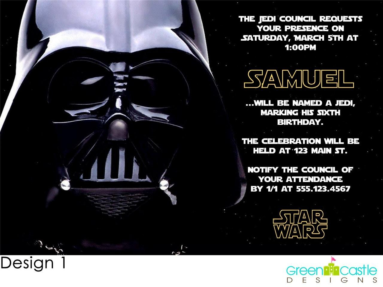 Star Wars Birthday Invitation 20 Star Wars Invitations Darth Vader Custom
