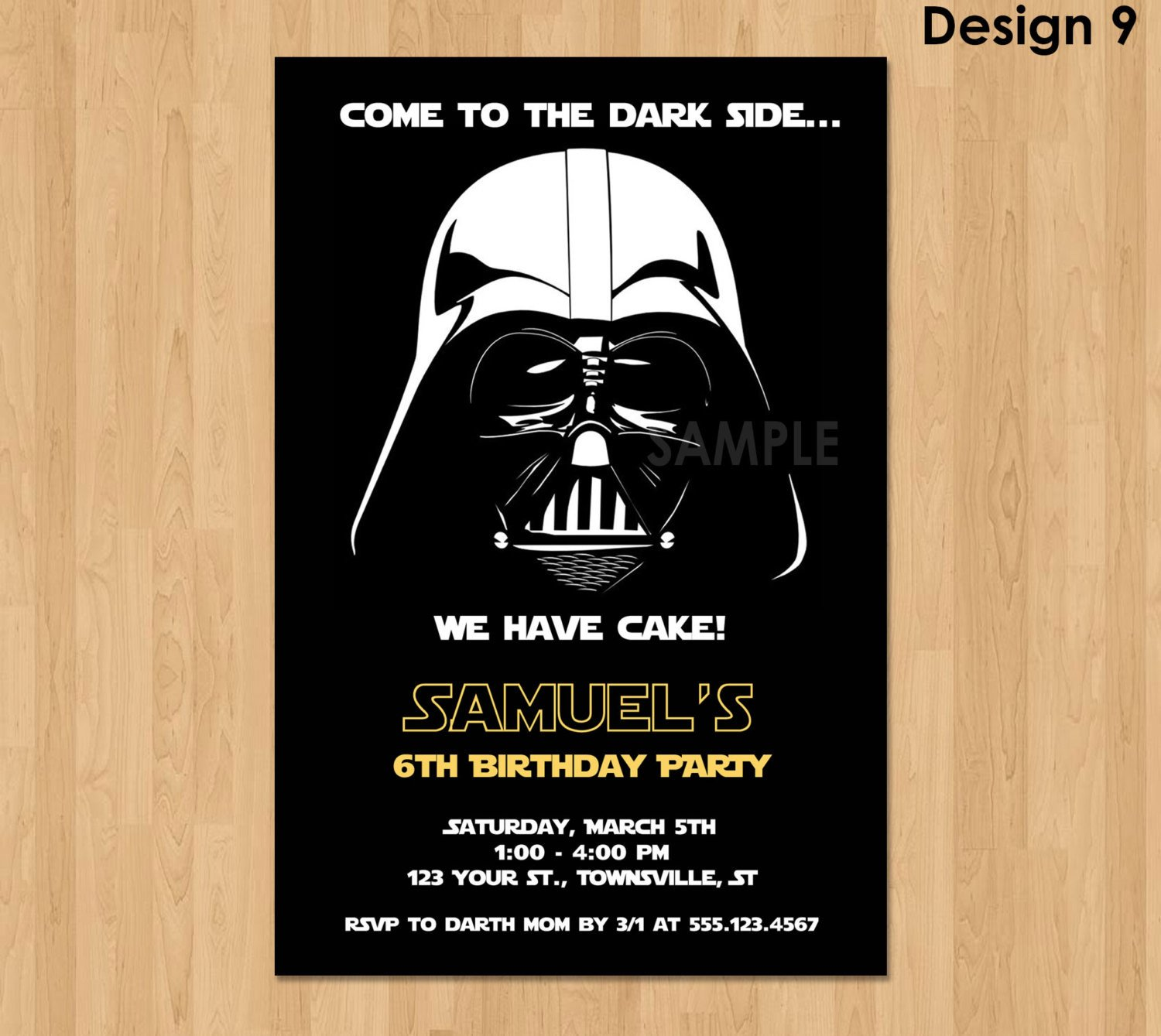 Star Wars Birthday Invitation Darth Vader Invitation Star Wars Birthday Invitation Star