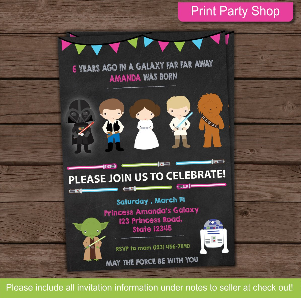 Star Wars Birthday Invitation Girl Star Wars Party Invitation