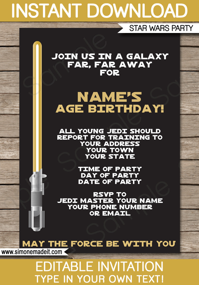 Star Wars Birthday Invitation Gold Star Wars Invitations Editable Template
