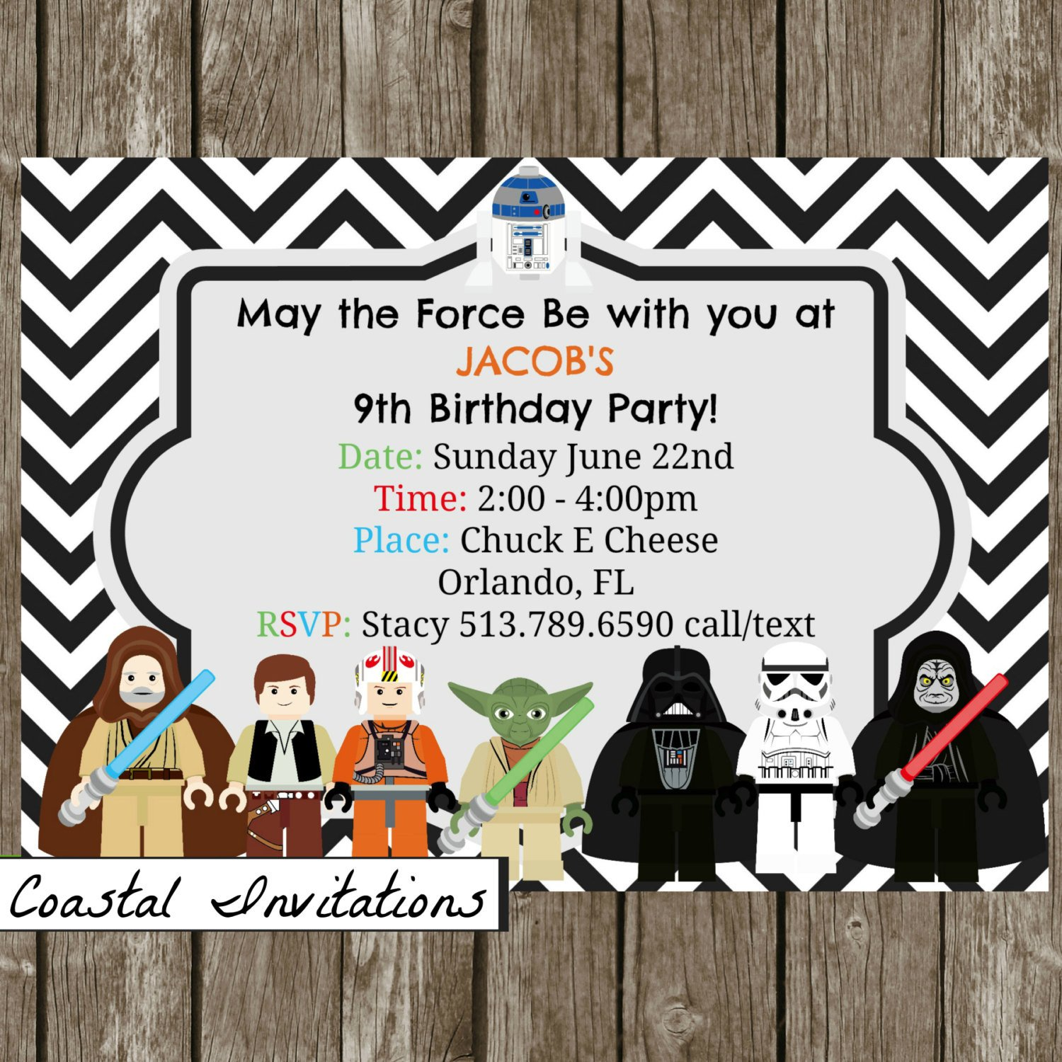 Star Wars Birthday Invitation Lego Star Wars Birthday Party Invitation by Coastalinvitations