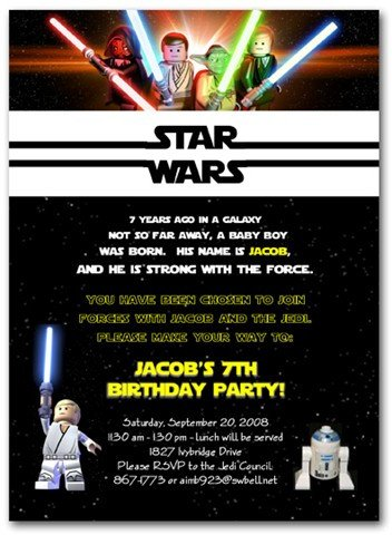 Star Wars Birthday Invitation Party Time – Lego Star Wars