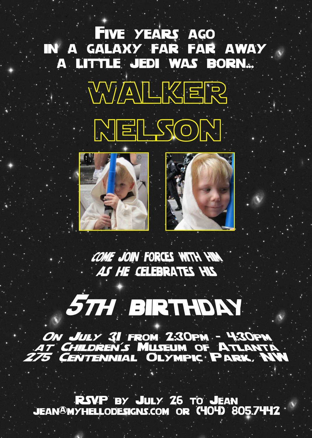 Star Wars Birthday Invitation Printable Star Wars Inspired Invitation Jedi by Myhellodesigns