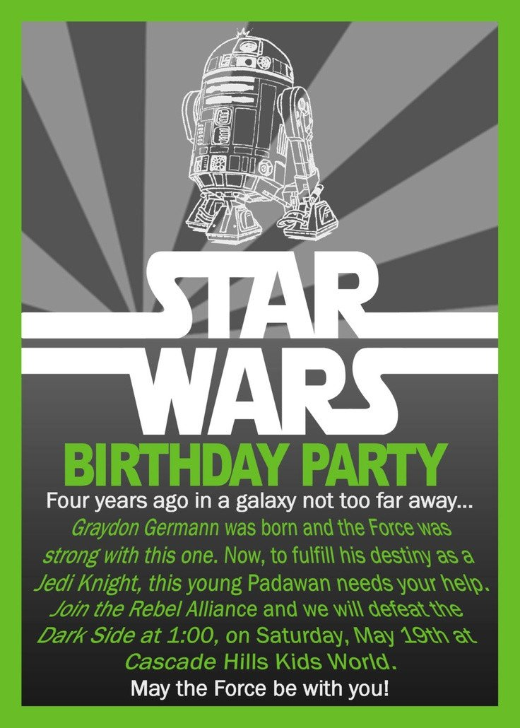 Star Wars Birthday Invitation Star Wars Birthday Invitation $10 00 Via Etsy