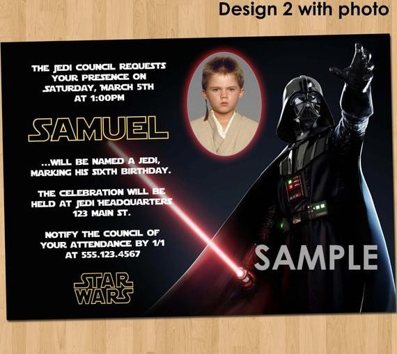 Star Wars Birthday Invitation Star Wars Birthday Invitation Custom Invite Star