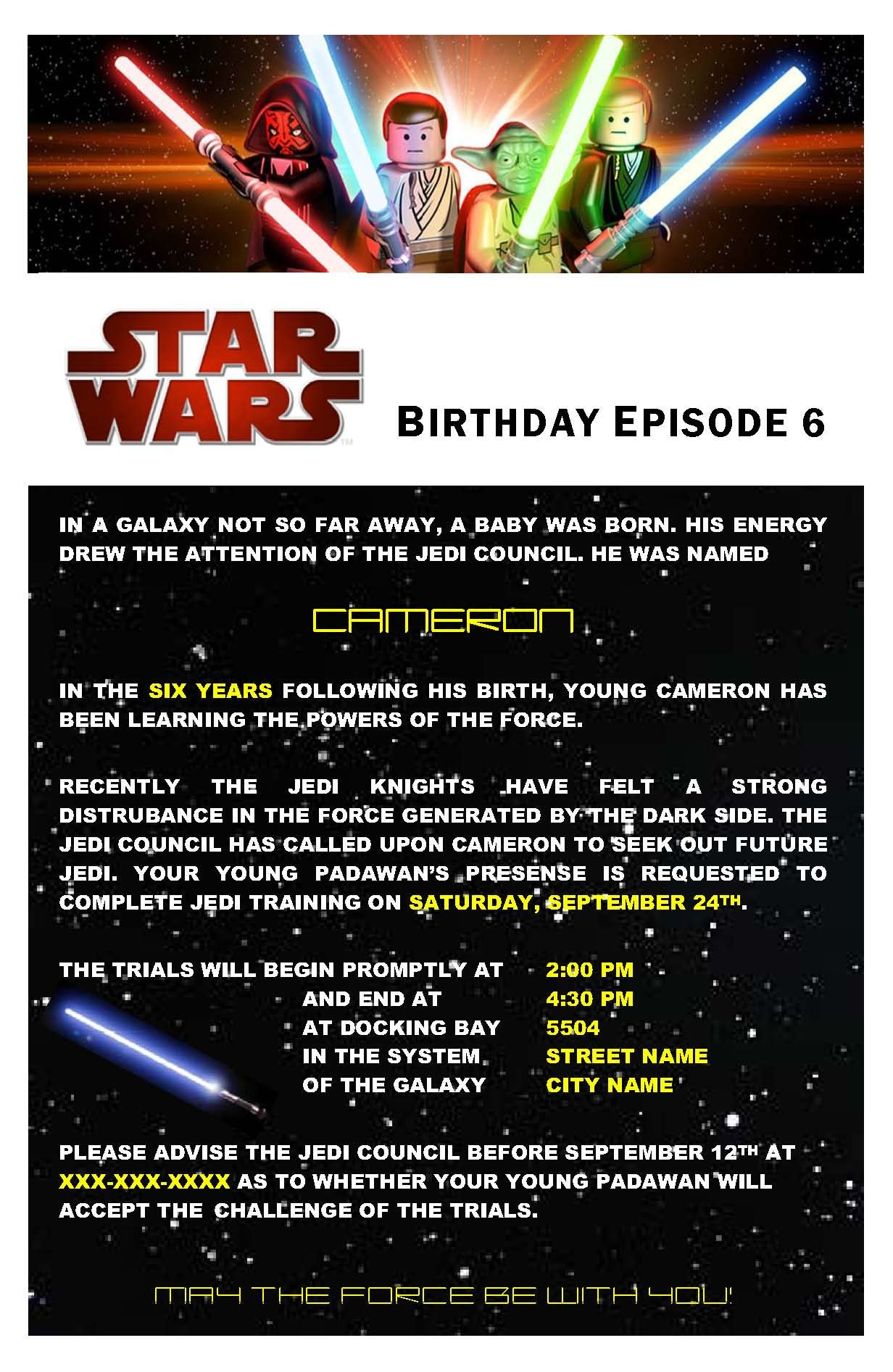Star Wars Birthday Invitation Star Wars Birthday Party