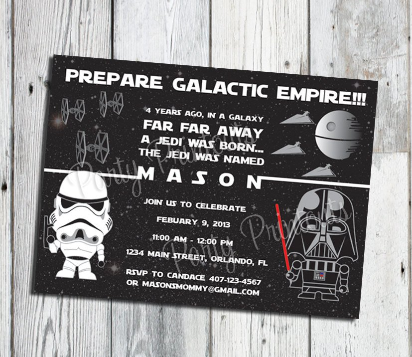 Star Wars Birthday Invitation Star Wars Inspired Invitation Star Wars Birthday Invitation