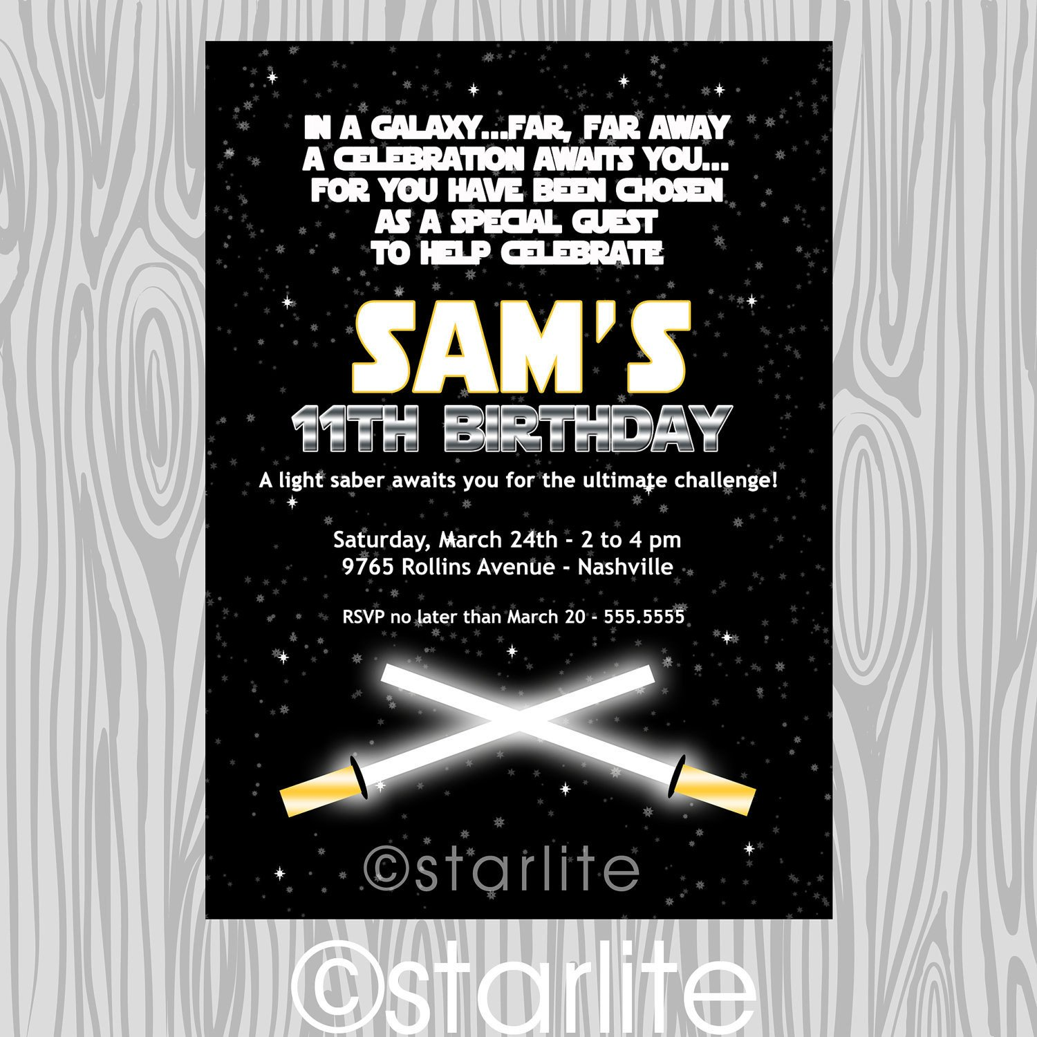 Star Wars Birthday Invitation Star Wars Inspired Star Wars theme Birthday Party by Starwedd