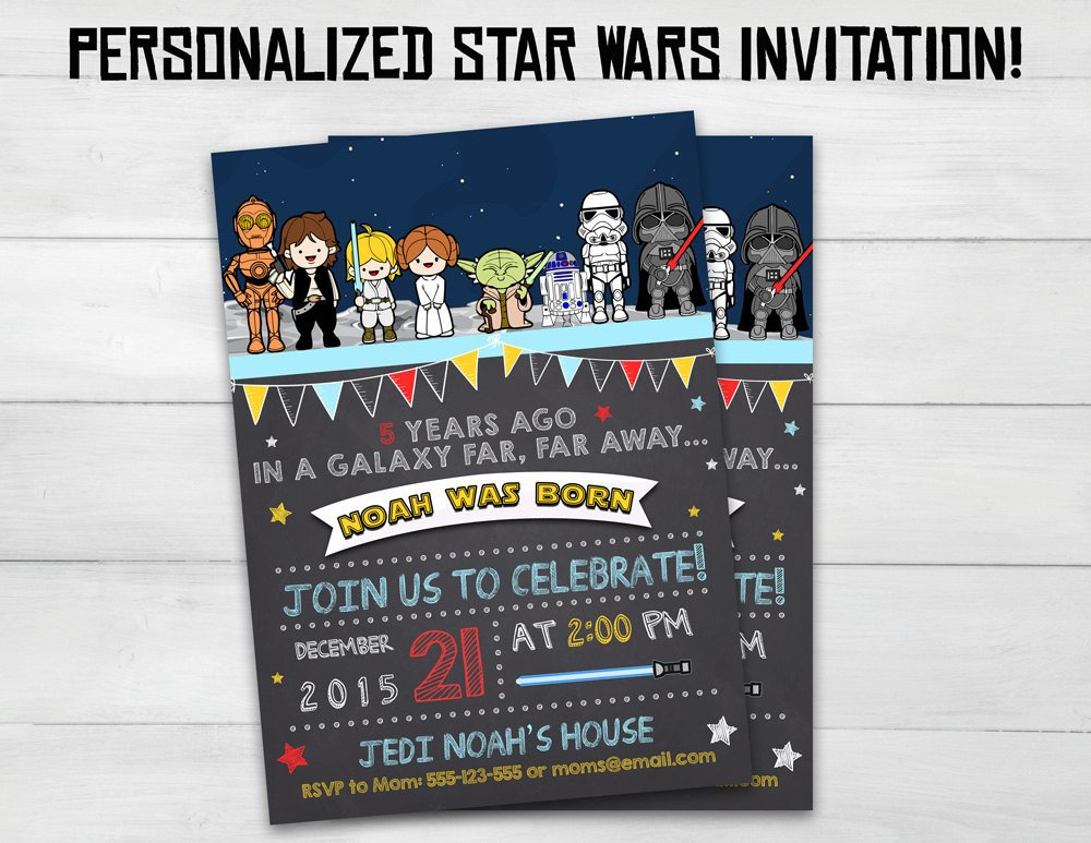 Star Wars Birthday Invitation Star Wars Invitation Star Wars Kids by Superinstantparty