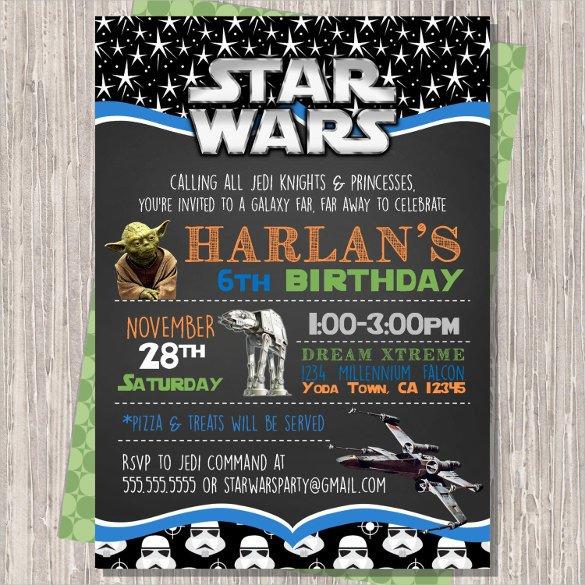 Star Wars Invitation Template 20 Star Wars Birthday Invitation Template Word Psd