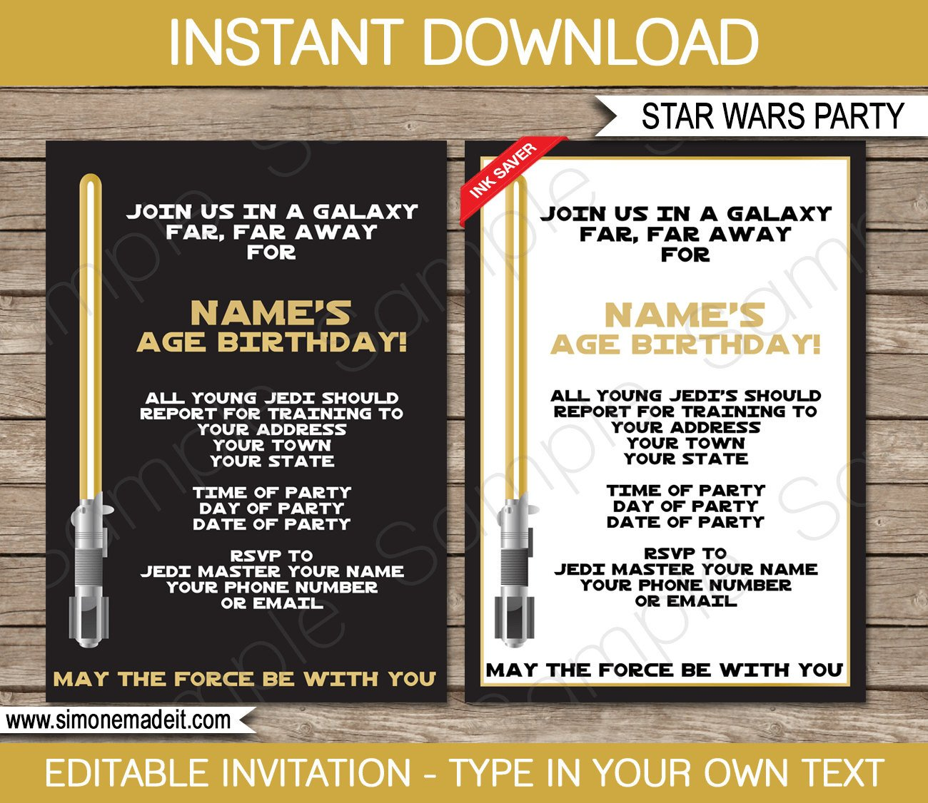 Star Wars Invitation Template Star Wars Invitation Template Gold Birthday Party