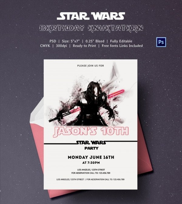 Star Wars Invitation Templates 23 Star Wars Birthday Invitation Templates – Free Sample