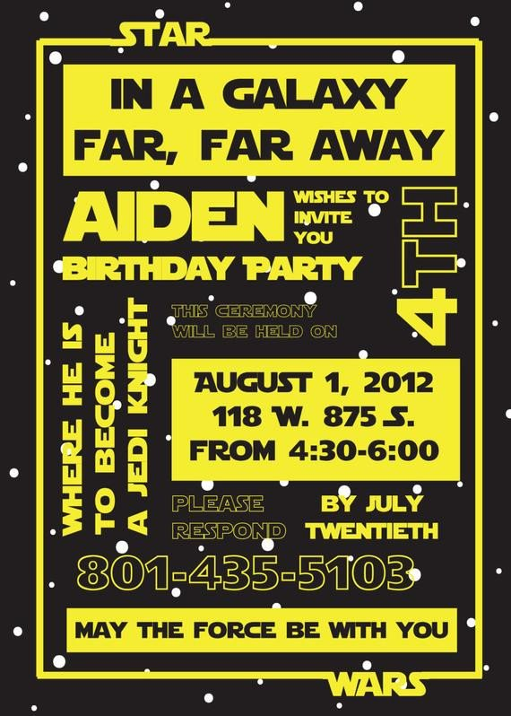 Star Wars Invitation Templates Star Wars Birthday Party Invitation by Susieandme On Etsy