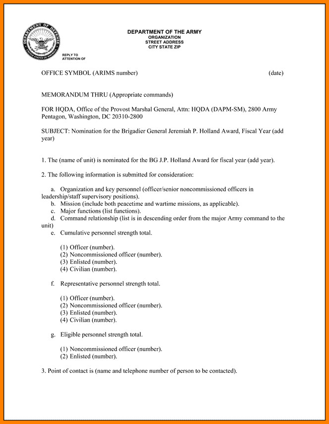 Statement Of Service Army Example 5 Statement Of Service Memorandum Army