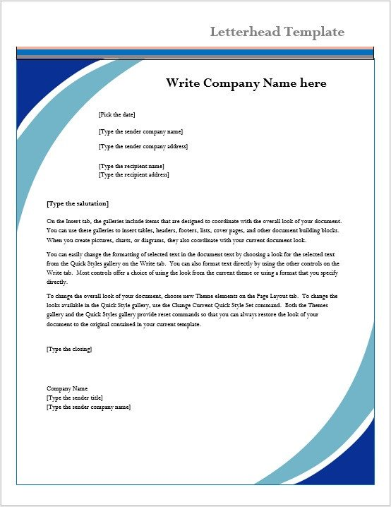Stationery Template for Word Letterhead Template – Microsoft Word Templates