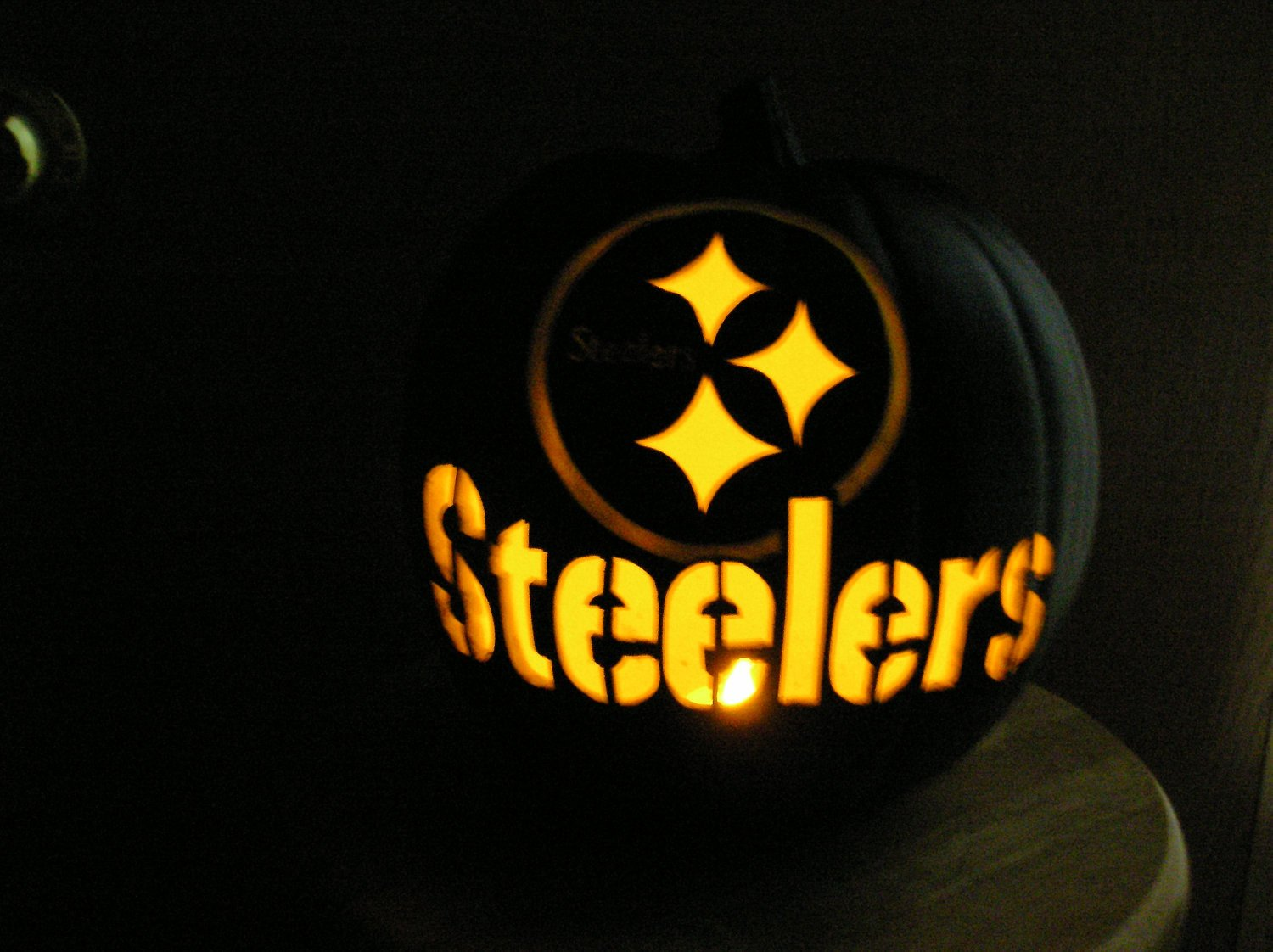 Steeler Pumpkin Stencil Black Carved Pittsburgh Steelers Pumpkin