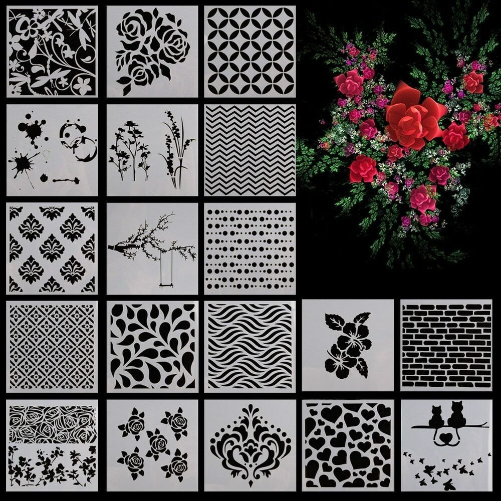 Stencil Templates for Painting Flower Star Heart Pattern Layering Scrapbooking Painting