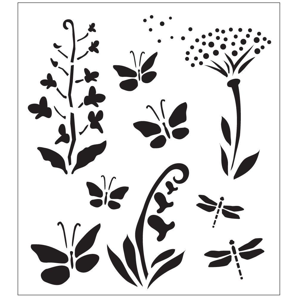 Stencil Templates for Painting Folkart Wildflowers and butterflies Painting Stencils
