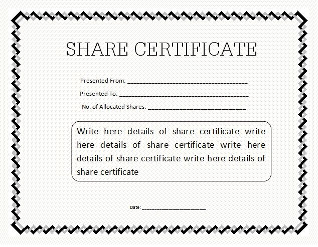 Stock Certificate Template Free 10 Certificate Templates