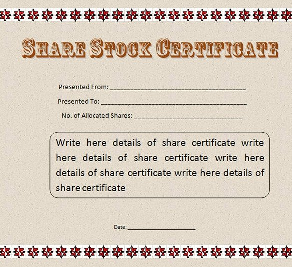 Stock Certificate Template Free 22 Stock Certificate Templates Word Psd Ai Publisher