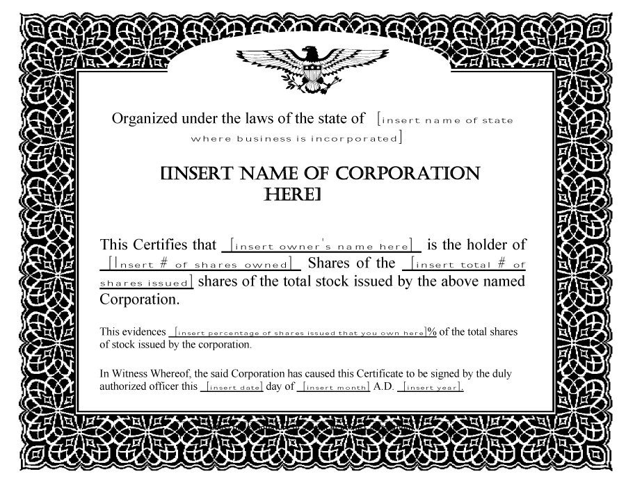 Stock Certificate Template Free 41 Free Stock Certificate Templates Word Pdf Free