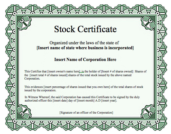 Stock Certificate Template Free Certificate Templates Archives Word Templates
