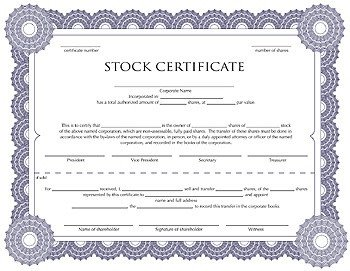 Stock Certificate Template Free Free Corporation Stock Certificate Template for You to
