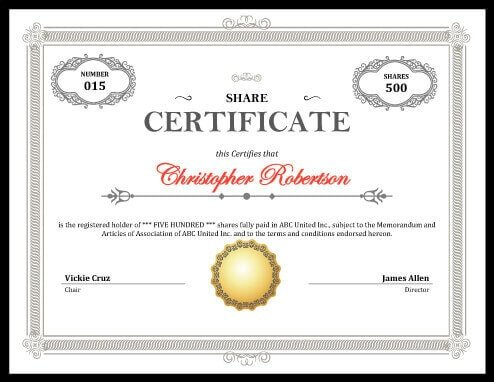 Stock Certificate Template Free Printable Stock Certificate [free Download]