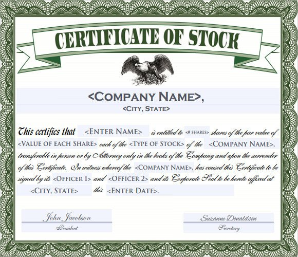 Stock Certificate Template Free Stock Certificate Template 6 Free Download for Pdf Word