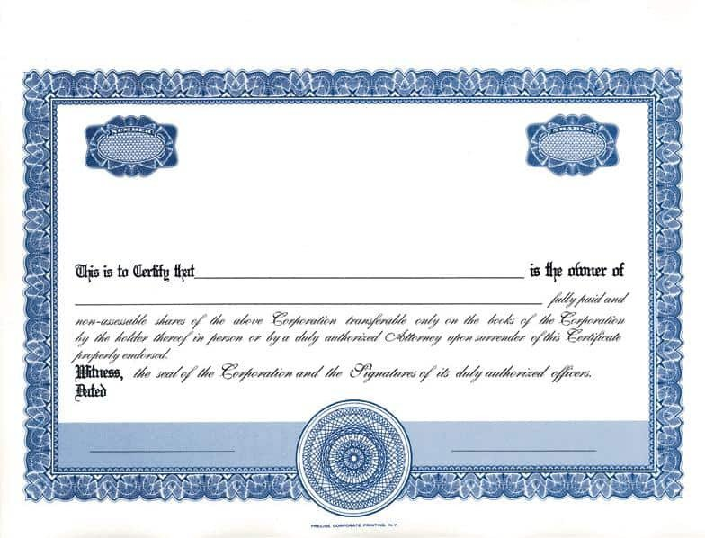 Stock Certificate Templates Word 13 Stock Certificate Templates Excel Pdf formats