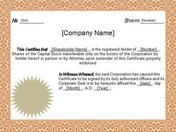 Stock Certificate Templates Word Stock Certificate Template 6 Free Download for Pdf Word
