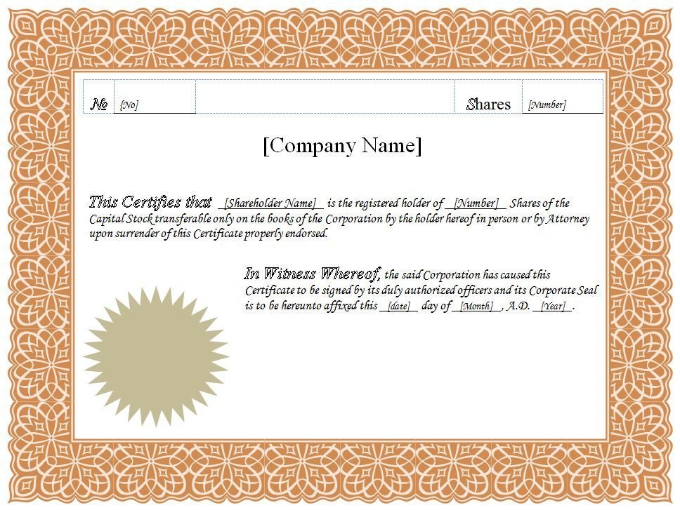 Stock Certificate Templates Word Stock Certificate Templates Word