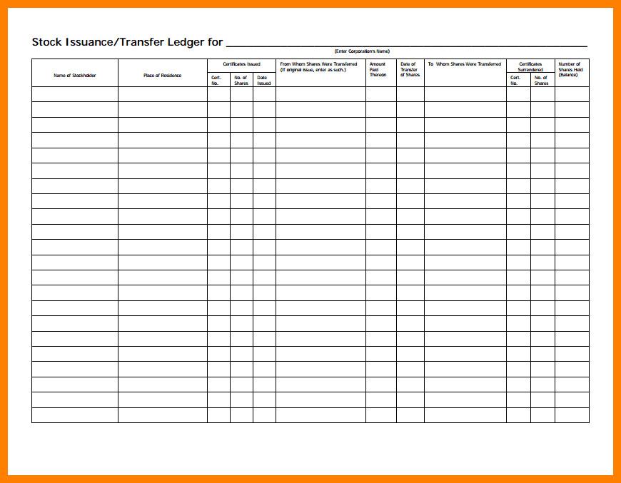 Stock Transfer Ledger Template 5 Stock Transfer Ledger Template