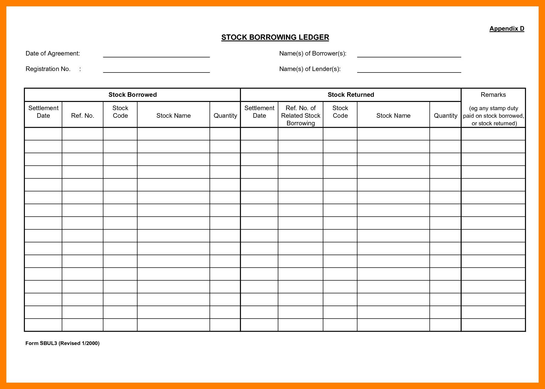Stock Transfer Ledger Template 7 Stock Ledger forms