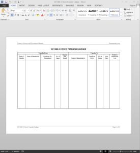 Stock Transfer Ledger Template Stock Transfer Journal Template