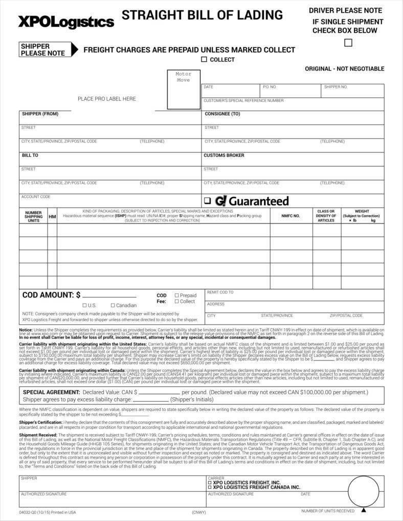Straight Bill Of Lading Template 29 Bill Of Lading Templates Free Word Pdf Excel