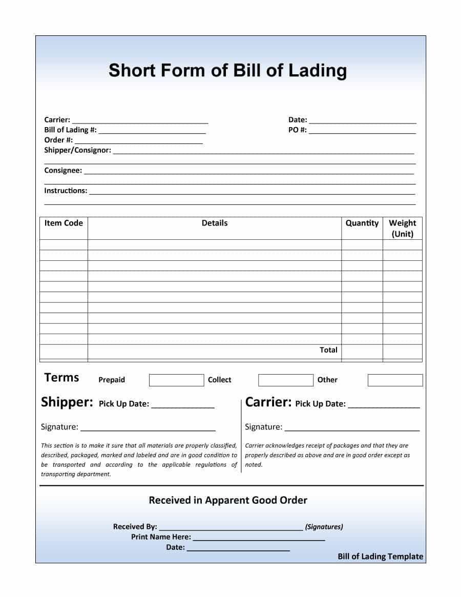 Straight Bill Of Lading Template 40 Free Bill Of Lading forms & Templates Template Lab