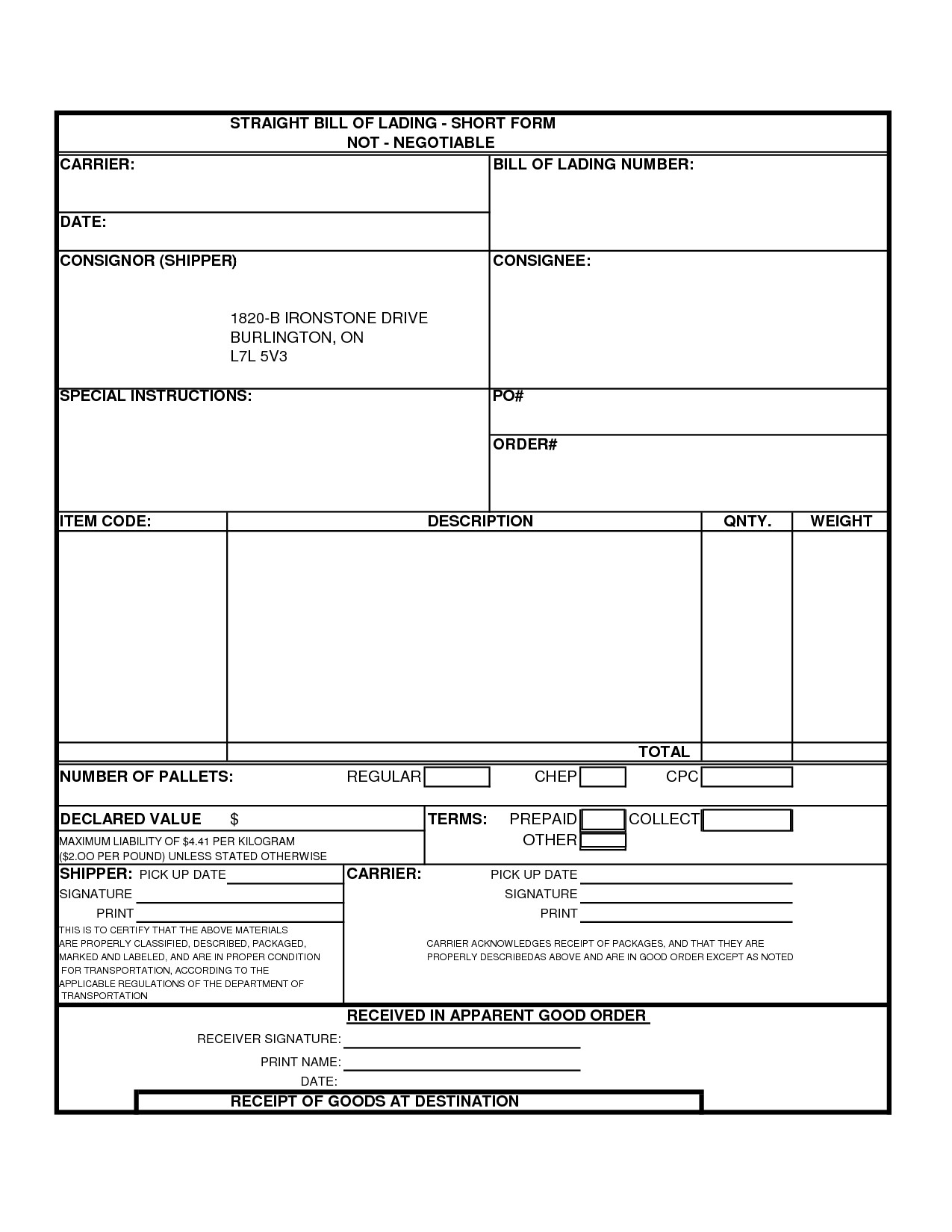 Straight Bill Of Lading Template Bill Lading Template