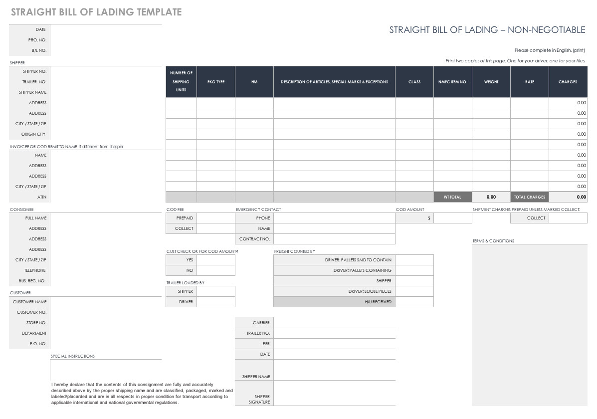Straight Bill Of Lading Template Free Bill Of Lading Templates