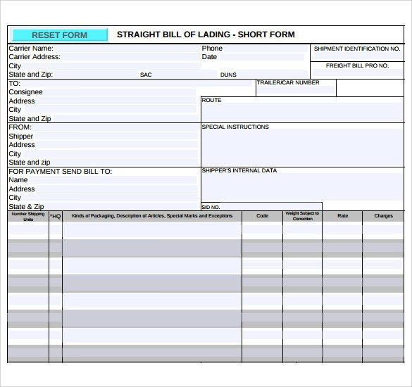 Straight Bill Of Lading Template Sample Bill Of Lading 5 Documents In Pdf