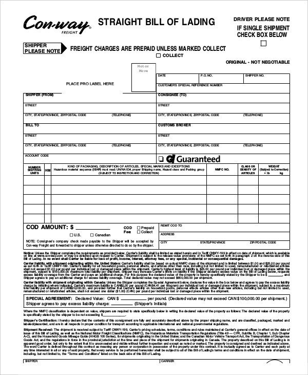 Straight Bill Of Lading Template Simple Bill Of Lading Template 11 Free Word Pdf