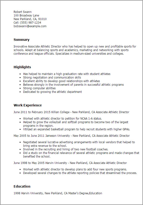 Student athlete Resume Template athletic Resume Samples